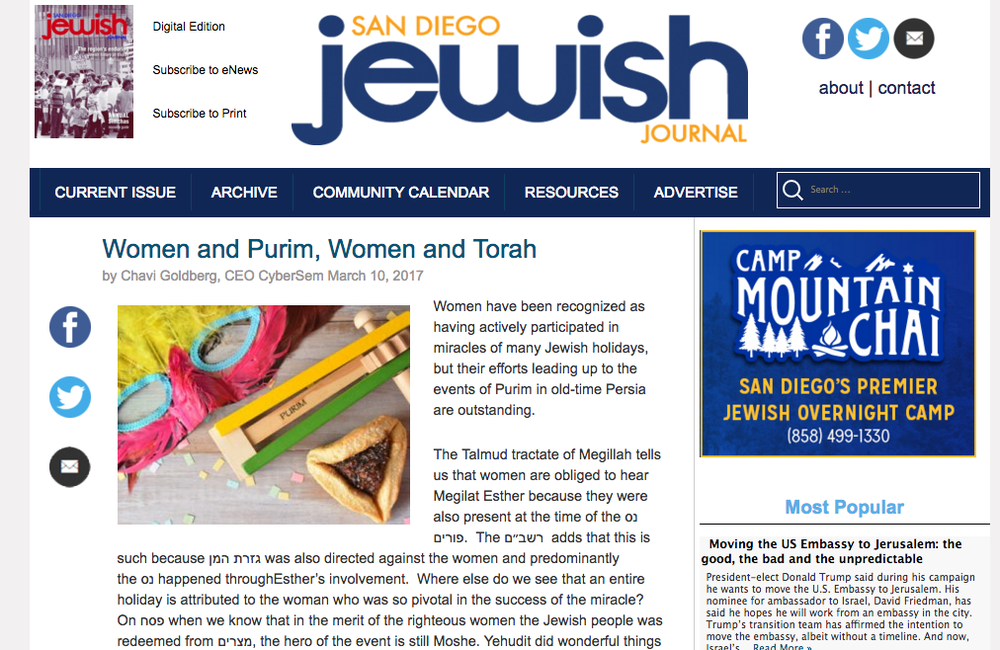 Chavi Goldberg feature in the San Diego Jewish Journal