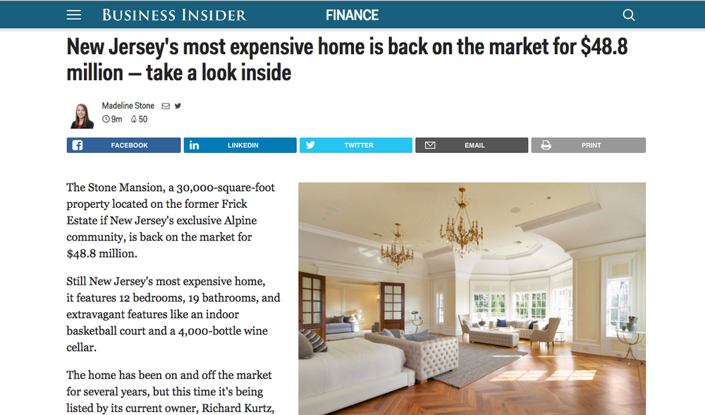 Stone Mansion Feature in Business Insider