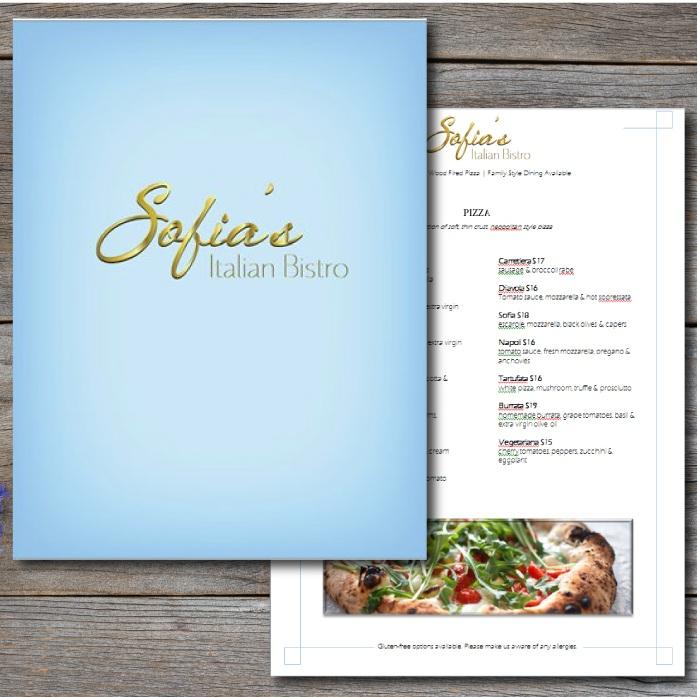 SOFIA'S ITALIAN BISTRO PRINT DESIGN | WEB DESIGN