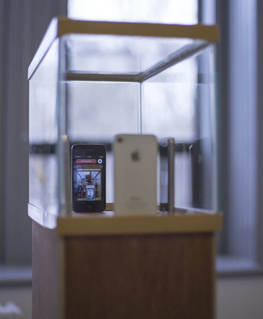 2KelseySHORE2016Omiphone(iphones,powerchords,plinth,fishtank,tablet)Uottawa5.5'x1.5'x1'.jpg