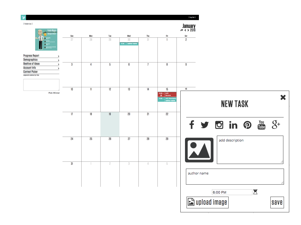 First iterations of the calendar and new task tool