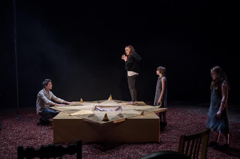 Orestes (Robert Thompson), Electra (Katie Honan), Young Orestes (Ben Smith-Short) & Young Electra (Ava Geyer)