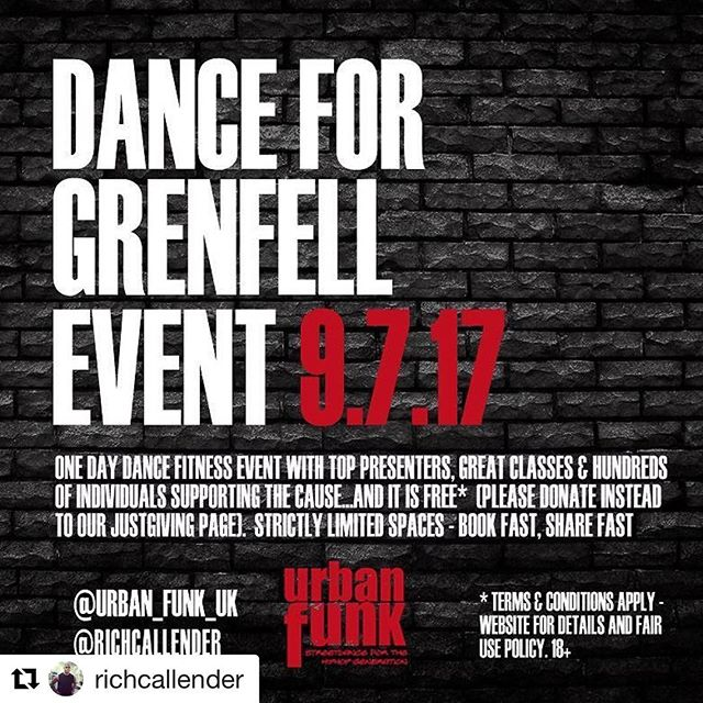 #Repost @richcallender with @repostapp ・・・ If you have ever been to one of my dance classes, worked out in my sessions or gotten fit with one of my DVDs over the years...this is a great cause and opportunity to join me & my friends as we host a FREE POPUP dance fitness event (all levels and abilities) to raise funds for the Grenfell victims, survivors & all affected by it.  It will be Sunday 9th July at Watford Woodside  Leisure Centre (limited availability - 18+), 10am till 3pm and all we ask is that you donate something to our newly created JUST GIVING page. LINE UP RELEASED TODAY. Spread the word at work today, gather your group, PTs bring your clients, group fitness gurus take your class participants, fitness brands/PR/Bloggers tell your customers (and contact us if you can help in any way) and let's #danceforgrenfell . I'm footing the bill, we're arranging the event and I need ALL of your help. 2 weeks to make a difference. Limited Spaces and tickets go on sale tonight at midnight. Thank you in advance to my friends, followers and fellow fitfam for helping this happen. TAG FRIEND(S) WHO NEED TO KNOW, SHARE & GATHER YOUR GANG. #help #charity #event #fitness #fitfam #grenfelltower #givingback #london #bodybuilding #health #life #children #trainers #groupfitness #urbanfunk #zumba #hiphop #music #community #3minutebellyblitz