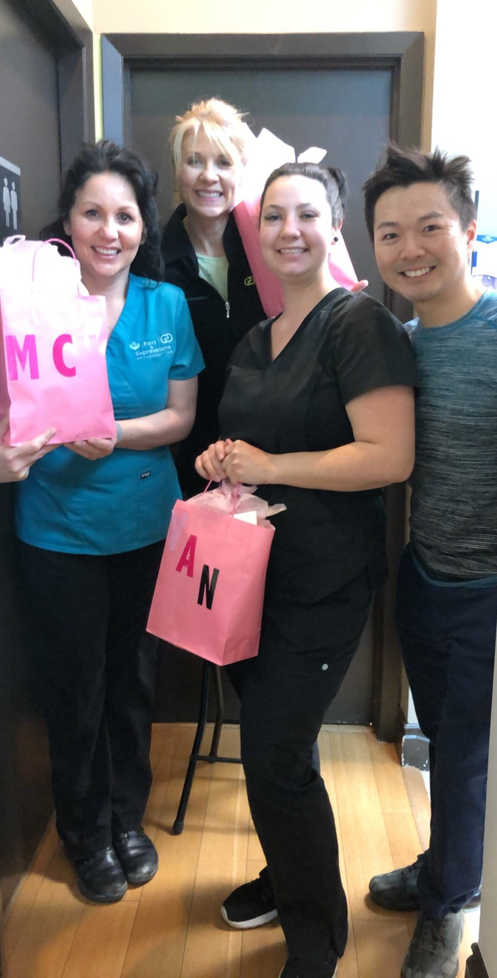 Left to right –> Michelle, Jo, and Vanessa. Michelle's the team joker, Jo keeps us moving (she could lift all us over her head!), and Vanessa is a gentle smile maker. Hats off to these 3 ladies who love orthodontics and our patients!