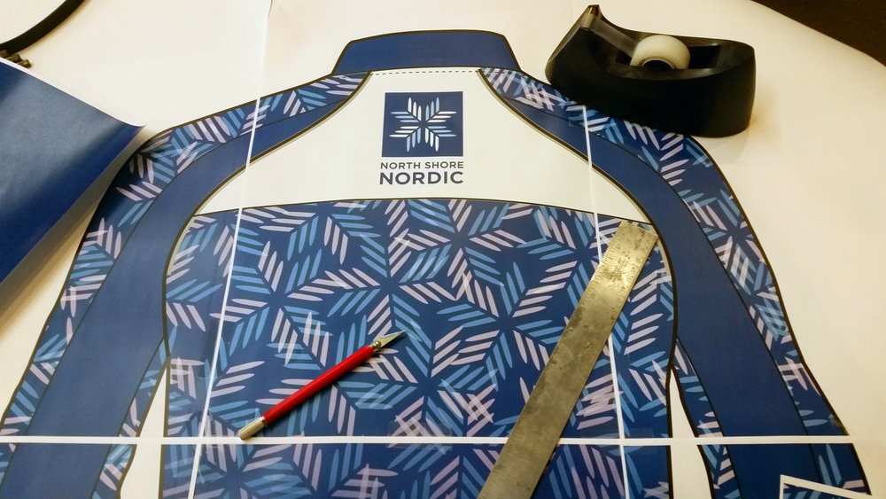 Custom branded graphics layout for the nordicwear manufactured by Craft Sportwear.