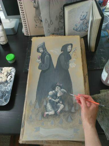 Painting the Snow White piece on my desk.