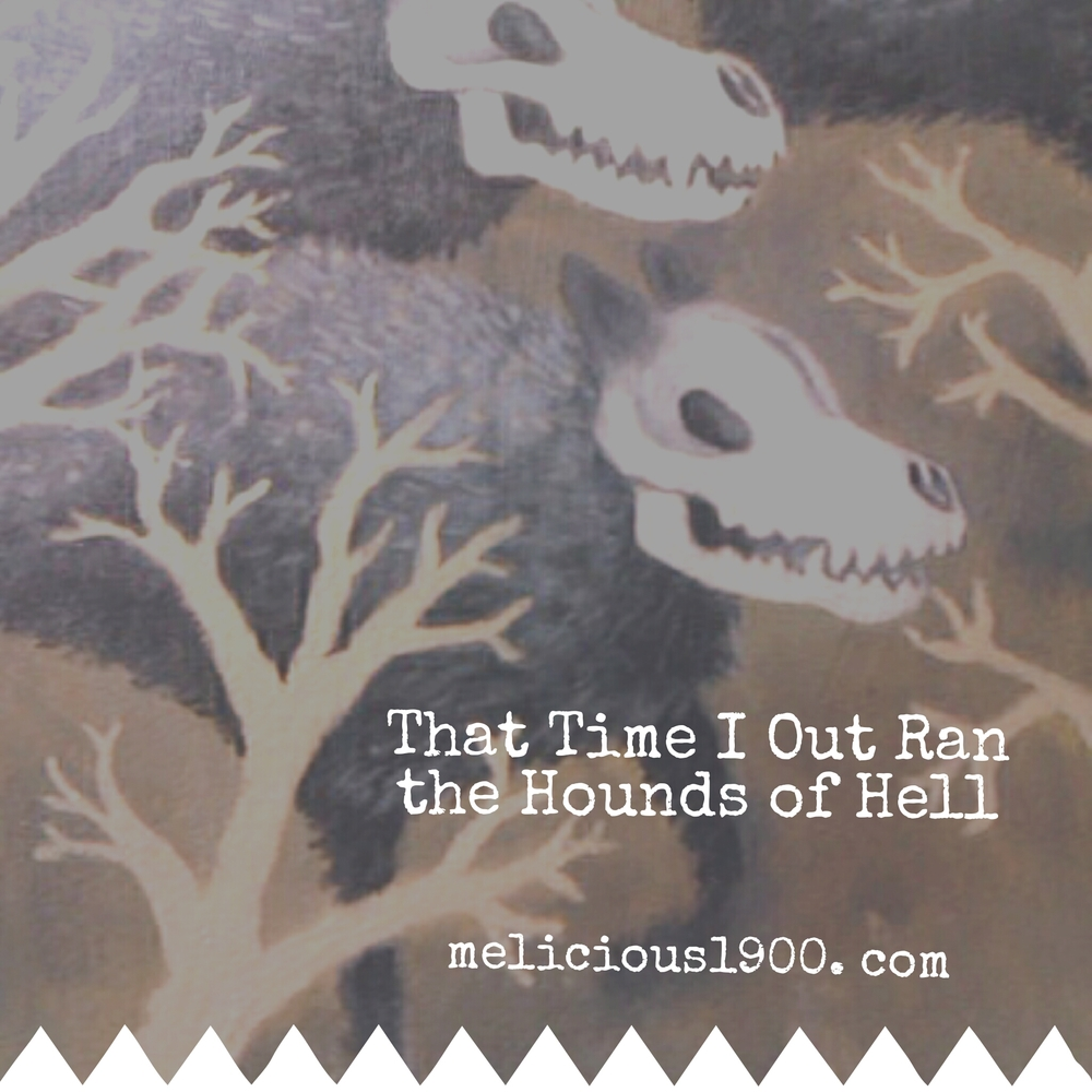 "A detail of my painting ""Out-running the Hounds of Hell"" with inspiration that you have already kicked-ass!"