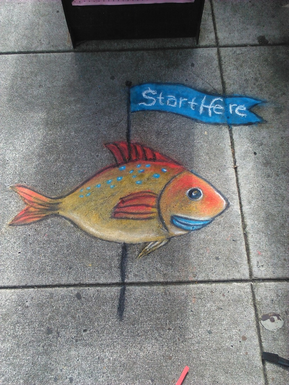 The 1st fish drawing to show you the way on the crazy-ass, Chalk Drawing Story Hunt in Downtown Portland, OR.  The fish are kind of the guides for the whole story and they mark where I started on the 3 different days. Near NW 11th & Couch.