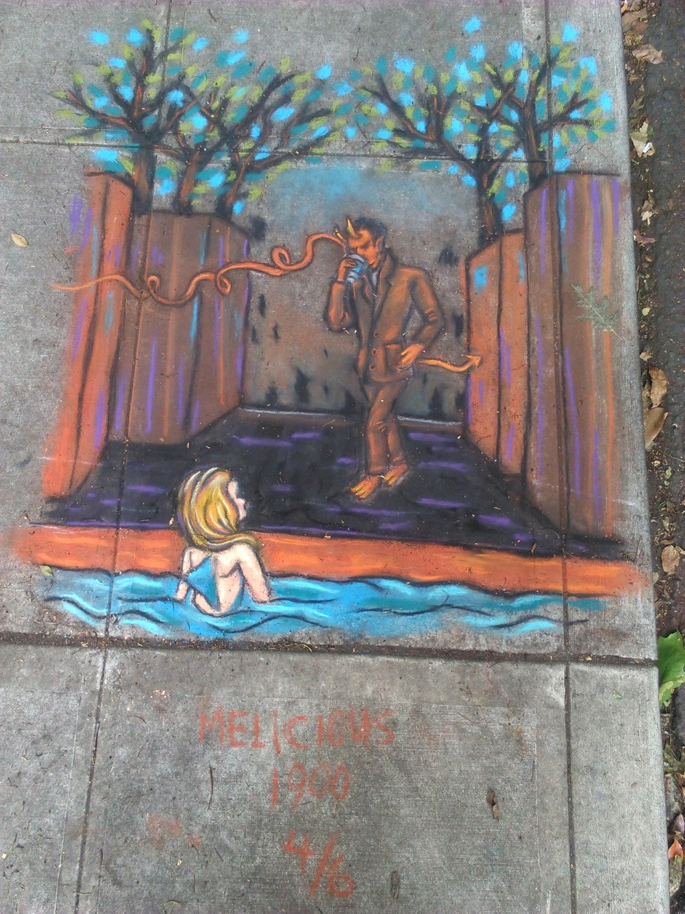 The 4th drawing where the mermaid discovers the source of the delicious scent. Near SW 1st and Ash.
