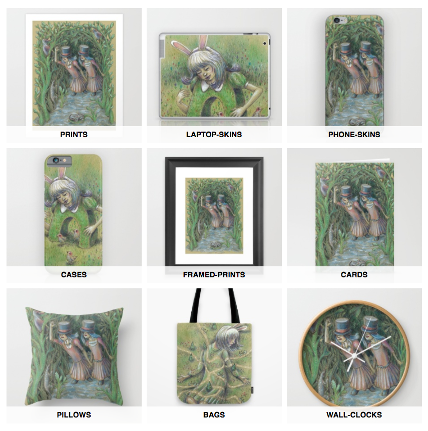 Take treasures with you, wherever you go, wherever you live------ prints, cases, tote bags, pillows, cards and more with Dark Fairytale Art at Society6.