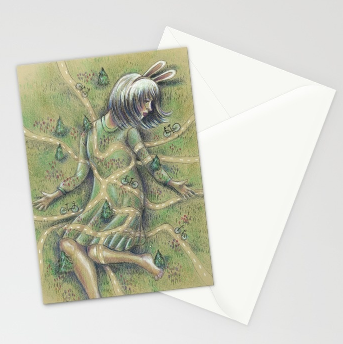 4) Bunny Girl Stationery Set of Cards (Gimme, gimme! Click on the image to get it.)