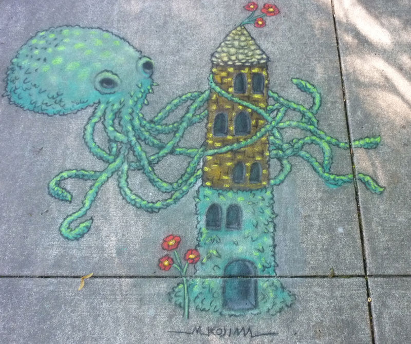 """Topiary Octopus"" chalk drawing for ""Octopus"" magazine by Melissa Kojima."