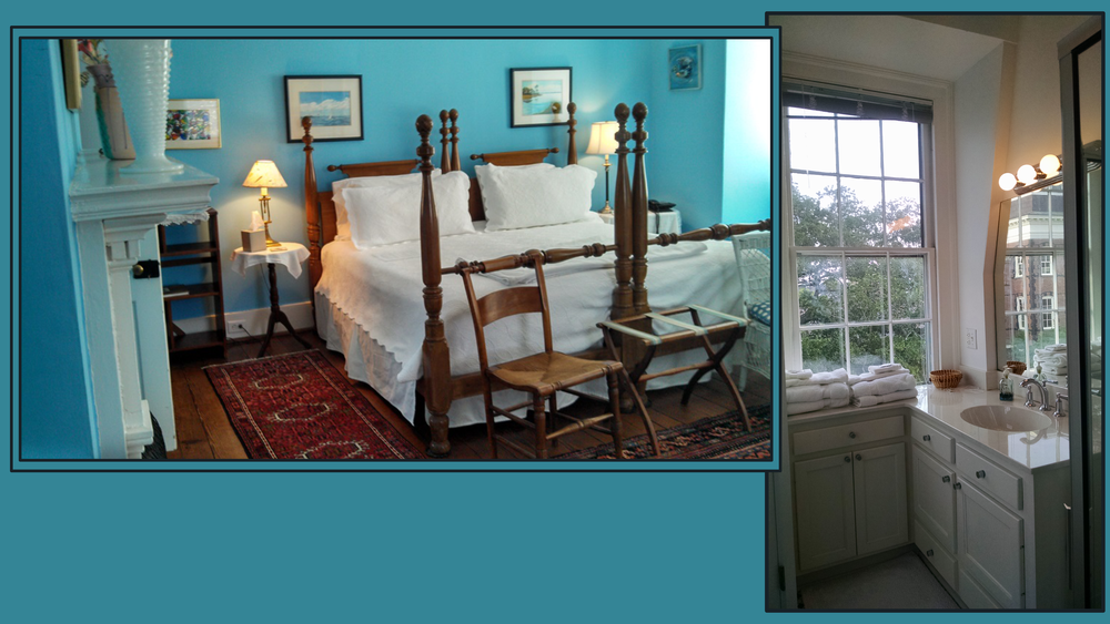 4th floor (up to 4 adults) - King or Twin beds & Trundle Beds; In-Suite Private Bath; Calhoun Mansion view; 2 Closets