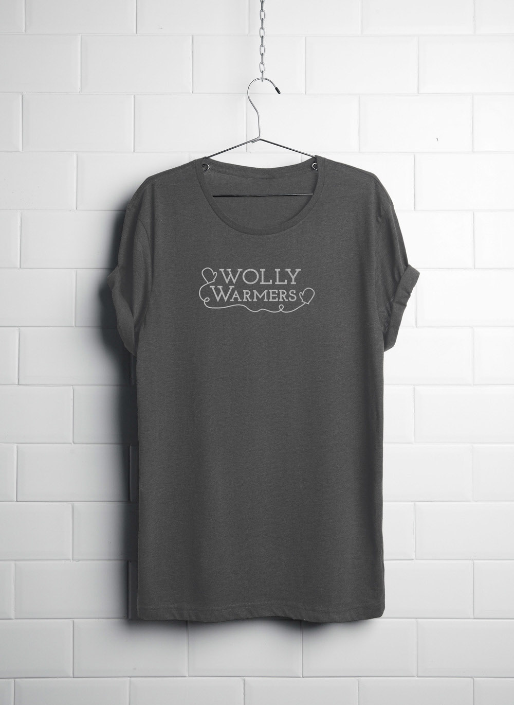 Wolly logo on gray t-shirt