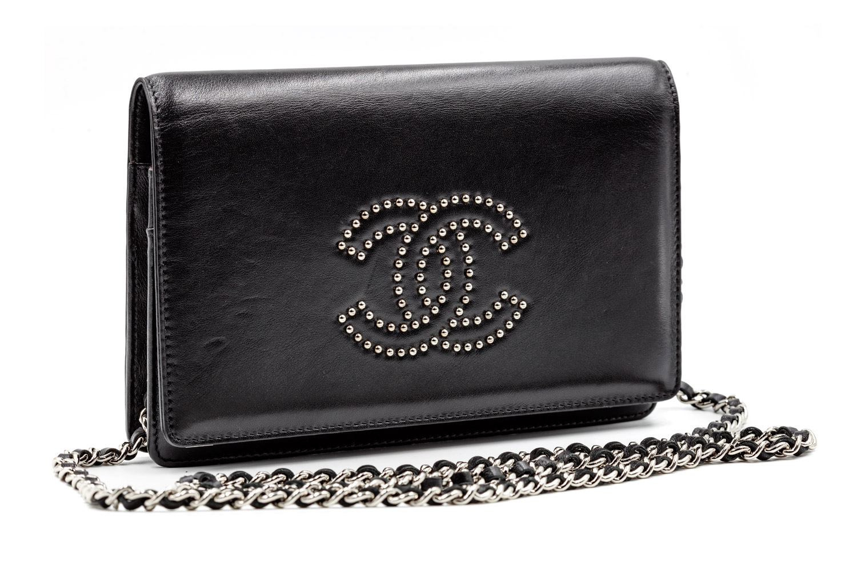 b74e977bdc3e55 Black Lambskin Chanel Bag with Studded Logo — Harriett's Closet