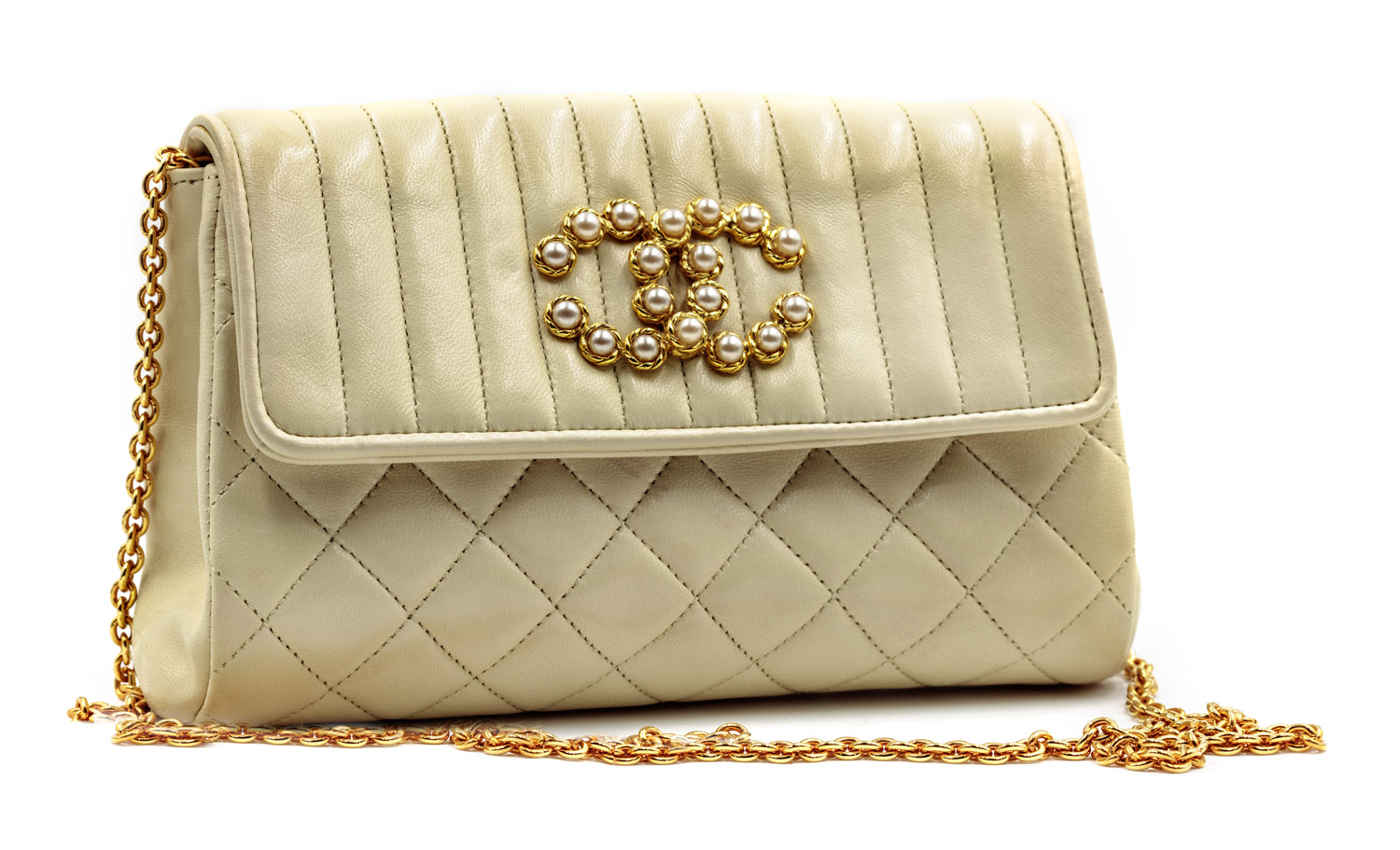 Ivory Quilted Leather Bag with Pearl Logo — Harriett s Closet
