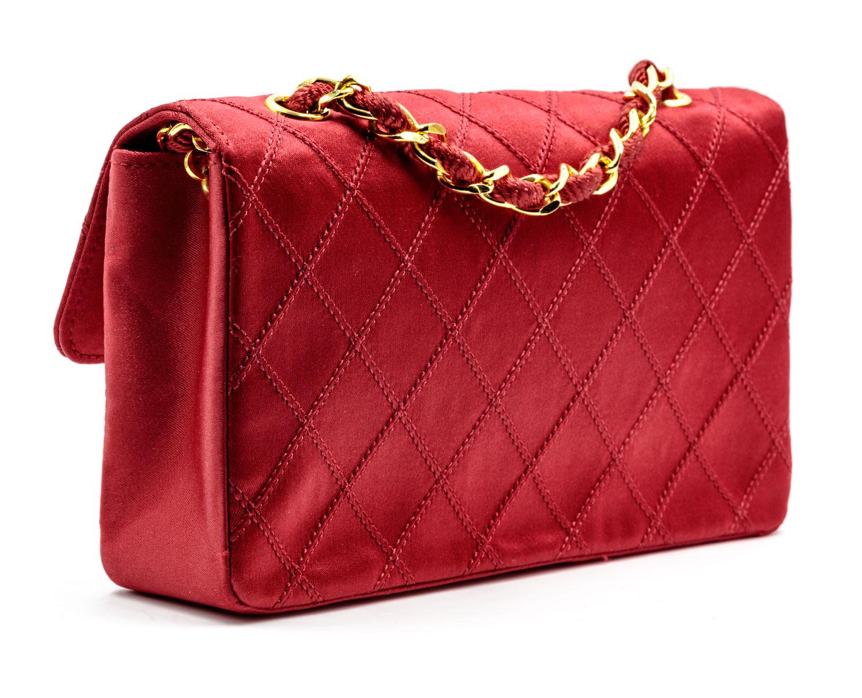d359bb505237 Red Classic Chanel Evening Bag — Harriett s Closet