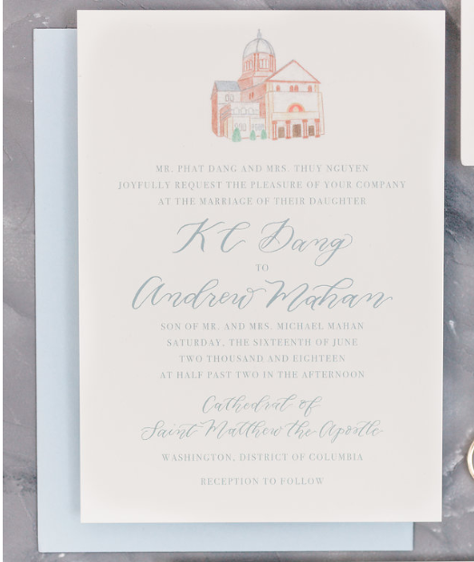 St Matthews Cathedral NMWA Wedding invitation A Griffin Events