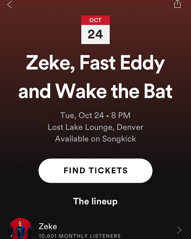 Y'all! There's no flyer for the show yet so here's a repost of our show on October 24th with Zeke, Fast Eddy and Poison Rites at @lostlakedenver! It's going to be INSANE and tickets are selling fast so message us for a pre sale!!