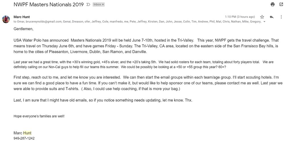 Hunt Email to rally the troops