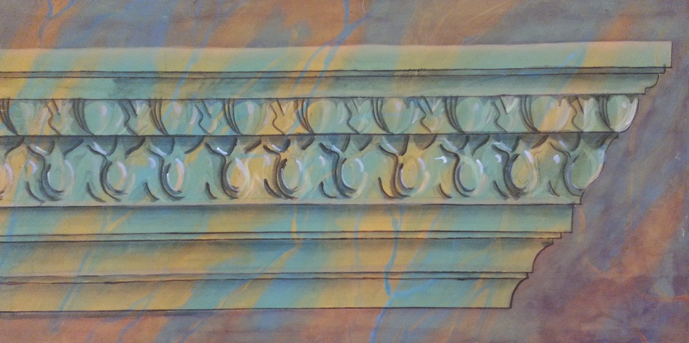 CORNICE ON MARBLE  4' x 8' Stretched Canvas