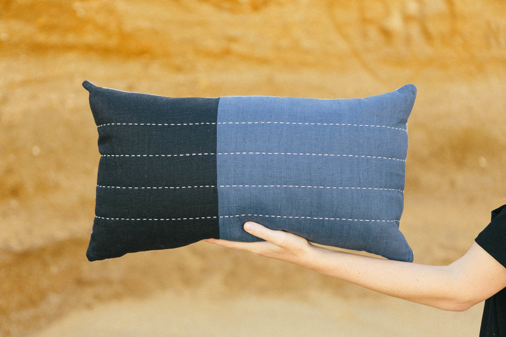 PILLOWS - Accent your couch or bed with a throw or lumbar pillow in cotton, raw silk or linen