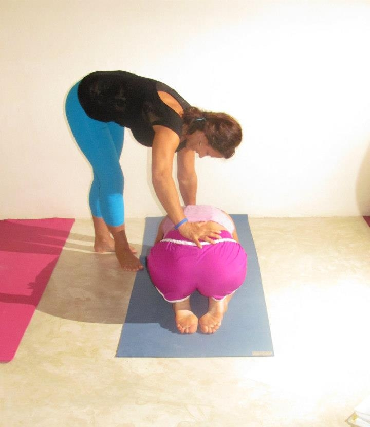 Renee DeTar in yoga therapy session.
