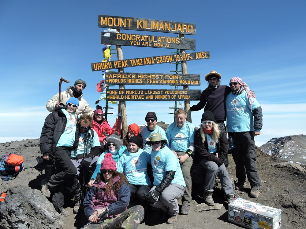Mission accomplished - the high spot of the adventure up Kilimanjaro