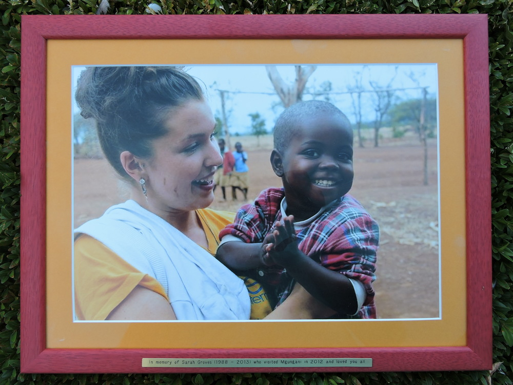 "Picture presented to Mgungani School in 2014 ""In memory of Sarah Groves (1988 – 2013) who visited Mgungani in 2012 and loved you all"""
