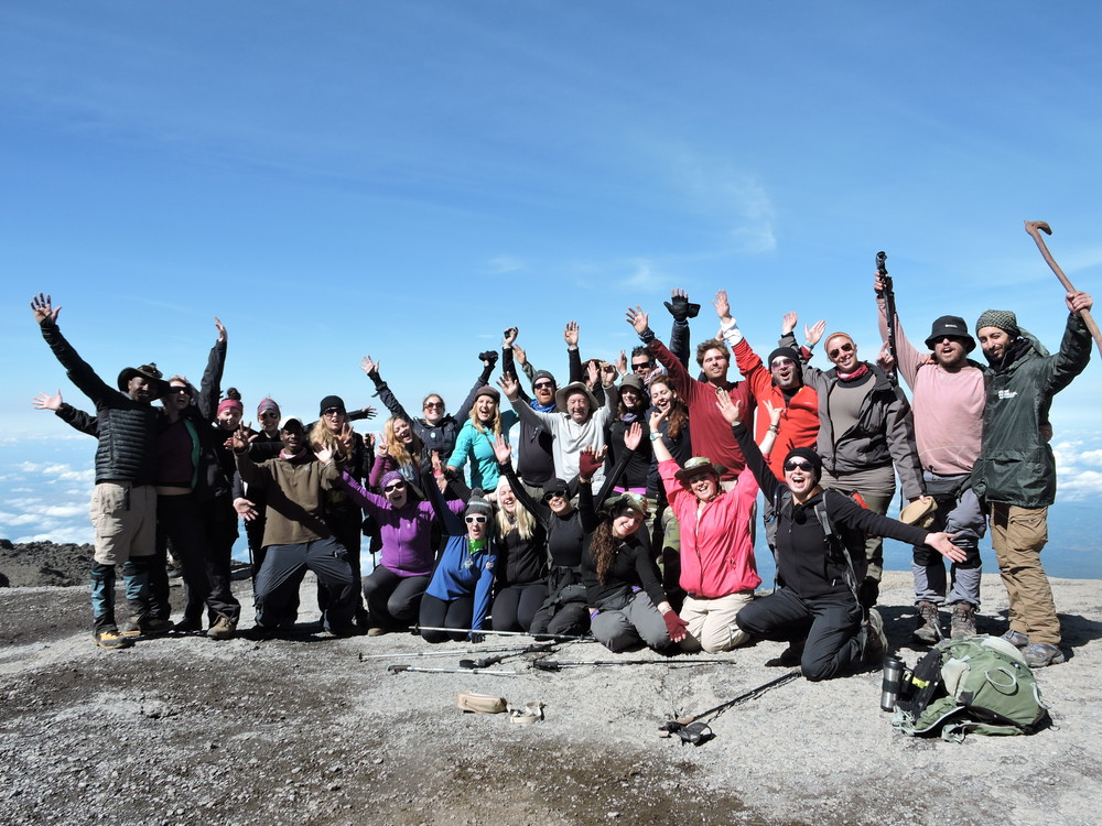 We made it! The team photo taken at Stella Point, Mount Kilimanjaro.