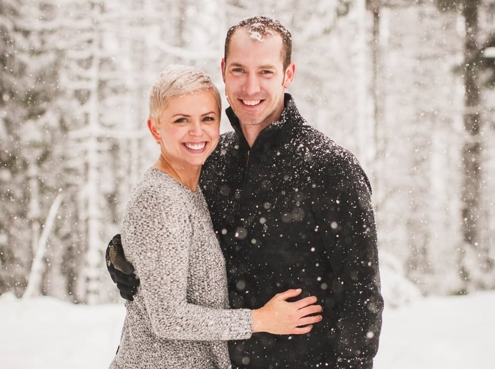 pixie cut, couple, snow, platinum pixie
