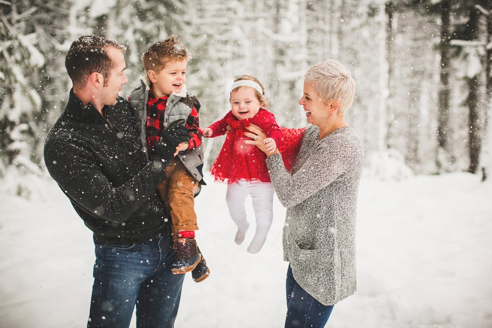 family photo, snow, babies