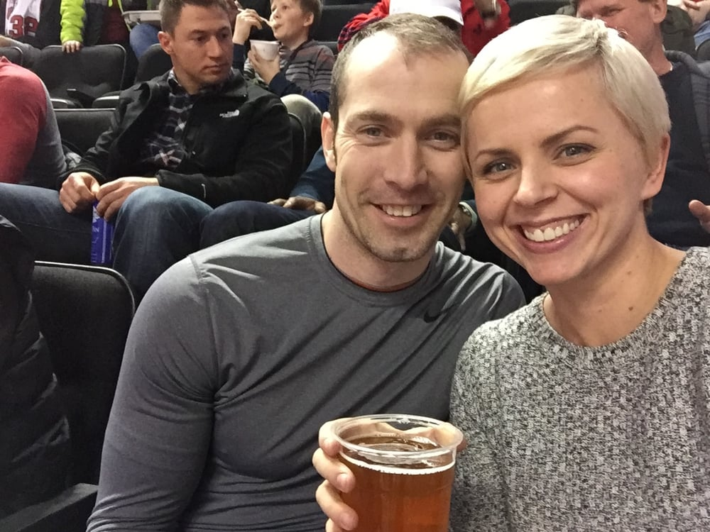 Fun unexpected date night to the Blazer game...oh and a much needed beer. Although one quickly forgets that too much beer and a toddler who want to watch cartoons at midnight for 2 hours don't mix well.
