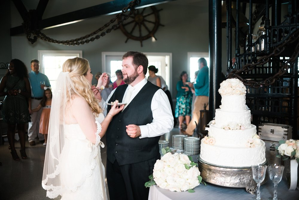 Cake Cutting | Kyle & Erin | Scarbrough Wedding | Children's Harbor | Laura Wilkerson Photography