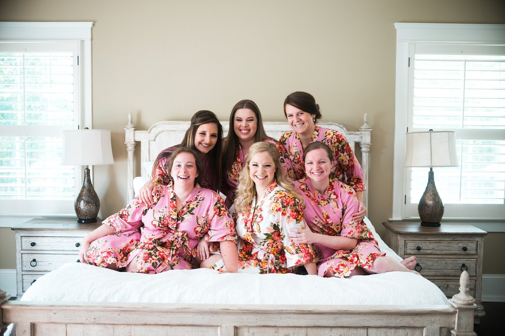 Bride with Bridesmaids in Robes | Kyle & Erin | Scarbrough Wedding | Children's Harbor | Laura Wilkerson Photography