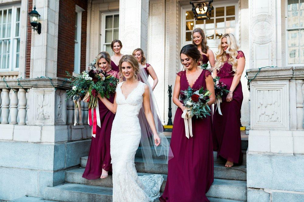 BRIDE WITH BRIDESMAIDS IN MAROON | MATT & MEGAN | CAREY WEDDING | B&A WAREHOUSE | ST. FRANCIS XAVIER