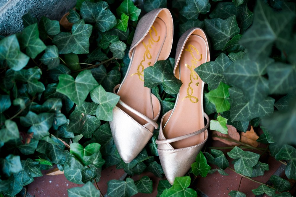 BRIDE'S SHOES | MATT & MEGAN | CAREY WEDDING | B&A WAREHOUSE | ST. FRANCIS XAVIER