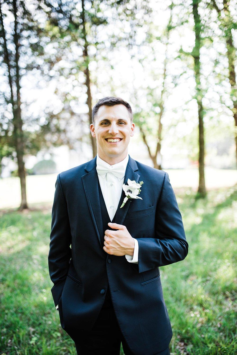 GROOM'S PORTRAIT | NAVY SUIT| ELEGANT SPRING WEDDING AT THE SONNET HOUSE | TJ & SHELBY | JOHNSON WEDDING