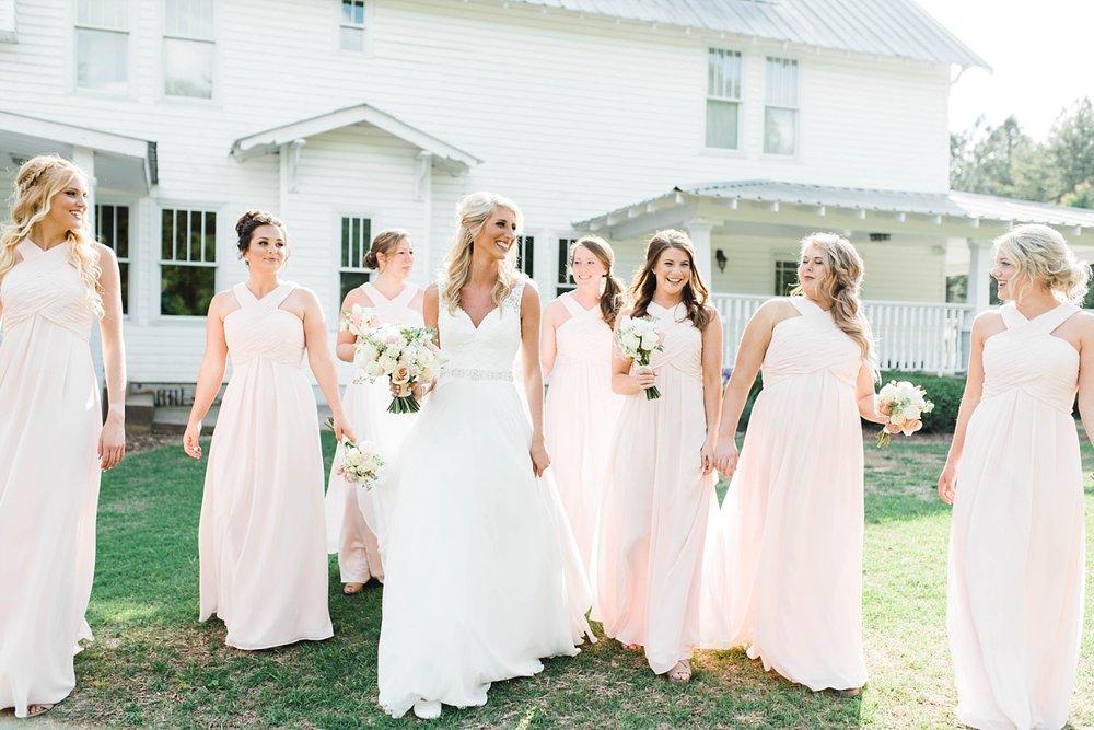 BRIDE WITH BRIDESMAIDS| BLUSH & NAVY | ELEGANT SPRING WEDDING AT THE SONNET HOUSE | TJ & SHELBY | JOHNSON WEDDING