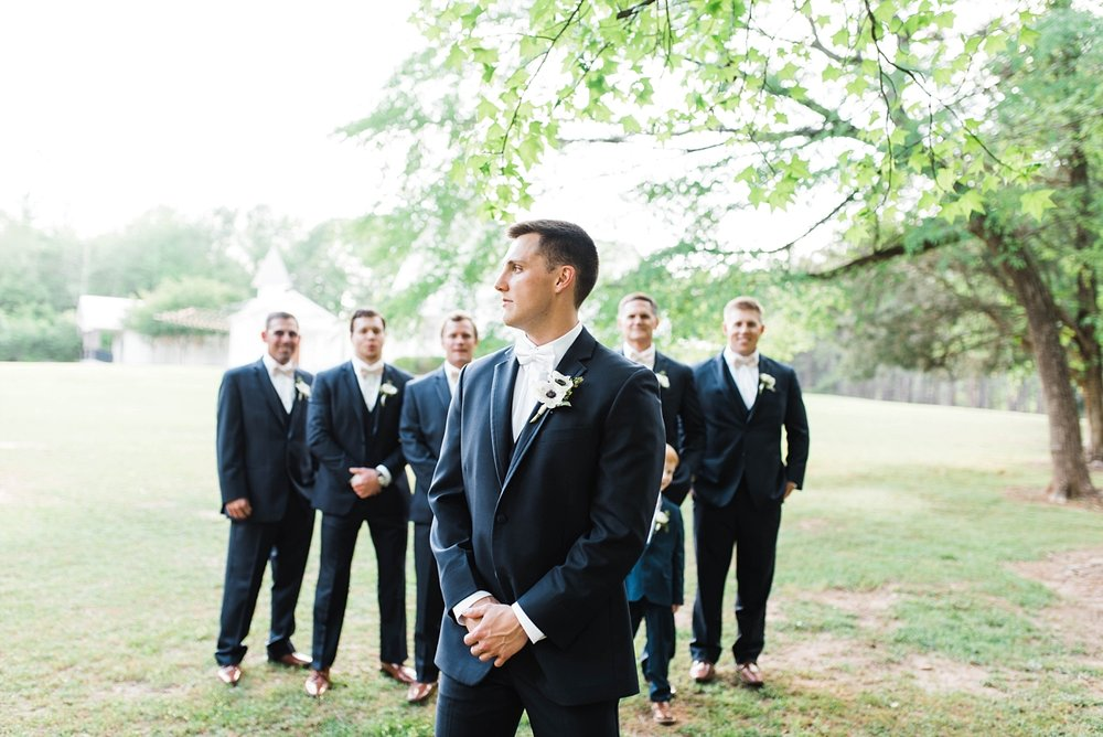 GROOM WITH GROOMSMEN | BLUSH & NAVY | ELEGANT SPRING WEDDING AT THE SONNET HOUSE | TJ & SHELBY | JOHNSON WEDDING
