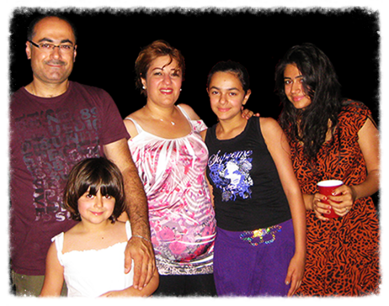 (From left:)  Laith (LAY-th), Lubna (LOOB-na), Awat (ah-WATT),  Lilyan and Linda in 2012, two days after arriving in the United States.
