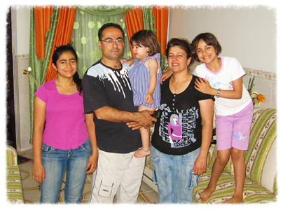 (From left:) Linda, Laith, Lubna, Awat, and Lilyan in their temporary home in Erbil, in the Kurdish provinces of Northern Iraq