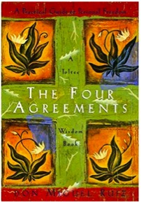 "The Four Agreements – A Toltec Wisdom Book, by Don Miguel Ruiz - I find myself moved again by this modern classic. The author offers a compelling vision for humanity. His simple, logical rules, or agreements, carry depth, and wisdom. Yet when you try to live by the four agreements – there is an unexpected level of resistance. Take for instance the first agreement – ""Be impeccable with your word!"" Sounds straightforward enough, right? But what does it mean in practical terms? Speak with integrity. Say only what you mean. OK. Even to examine one's words in everyday situations can be challenging. And necessary. A much needed fitness for the soul."