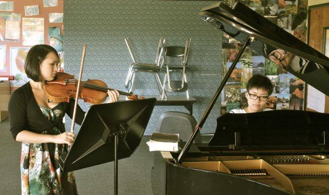 June rehearses Franck sonata for piano and viola with Kim Mai Nguyen.