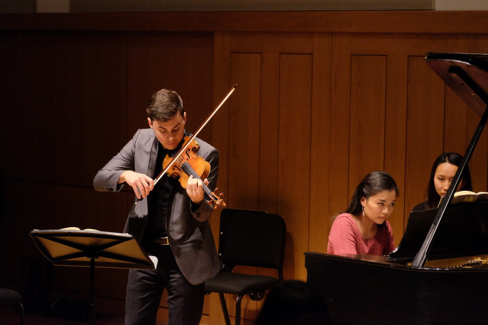 June performs Beethoven Kreutzer Sonata with violinist Benjamin Beilman in Rose Recital Hall at the University of Pennsylvania.