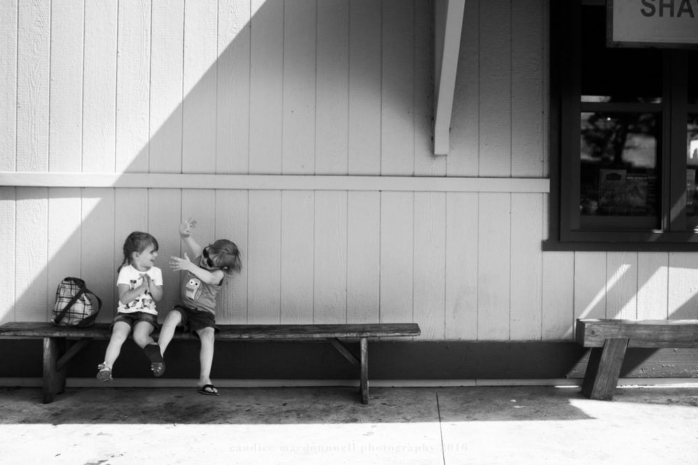 kids playing on bench matsamotos haleiwa best family photographer oahu hawaii