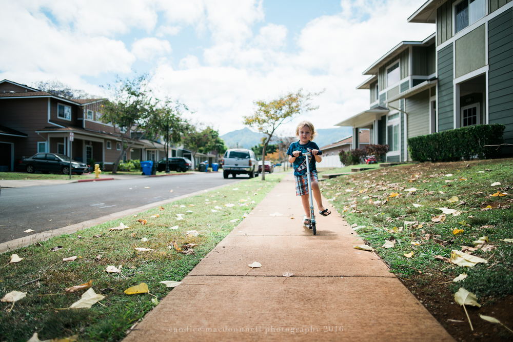 boy on scooter oahu hawaii family lifestyle photography