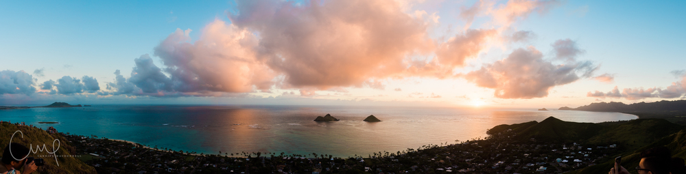 panoramic pano lanikai sunrise from pillboxes oahu hawaii lifestyle photographer
