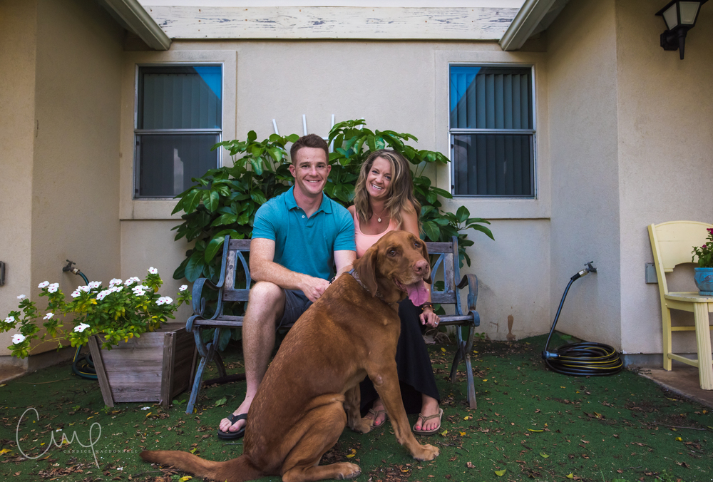 expecting couple with dog in front of house oahu hawaii maternity photography