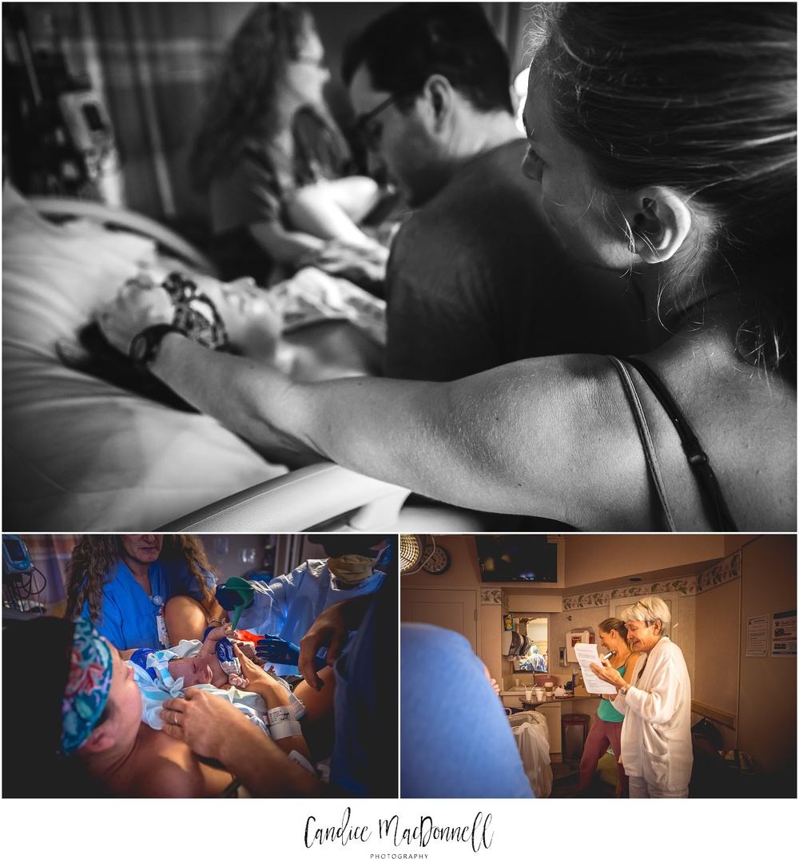 doula and grandma help woman through labor hawaii birth photographer